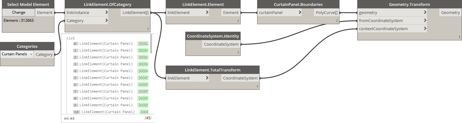 LinkElement Total Transform workflow using Element Query node in BimorphNodes v2.2